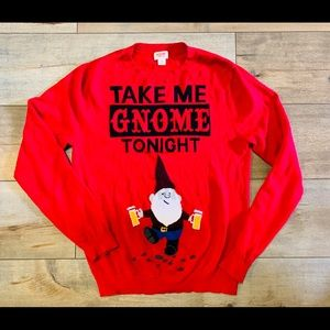 """Red """"Take Me Knome Tonight"""" Holiday Sweater"""